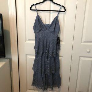 Lulus Light Blue Lace Ruffled Midi Dress